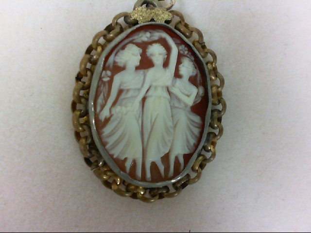 Cameo Gold-Stone Brooch Yellow Gold Electroplate 5.9g