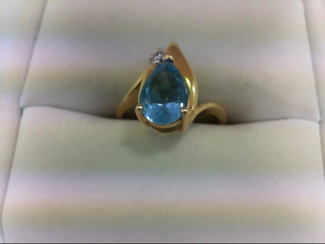Blue Topaz Lady's Stone & Diamond Ring 0.02 CT. 14K Yellow Gold 2.7g