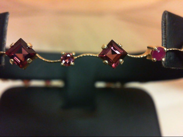 Purple Tourmaline Gold-Stone Bracelet 14K Yellow Gold 5.5g