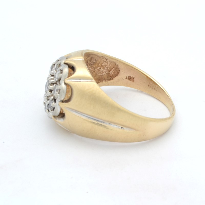 MENS DIAMOND RING SOLID 10K YELLOW GOLD CLUSTER STATEMENT SIZE 9.5