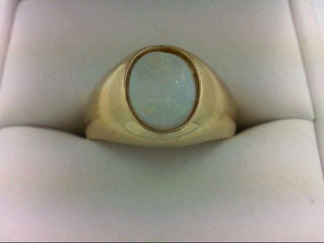Opal Gent's Stone Ring 14K Yellow Gold 5.1g Size:8