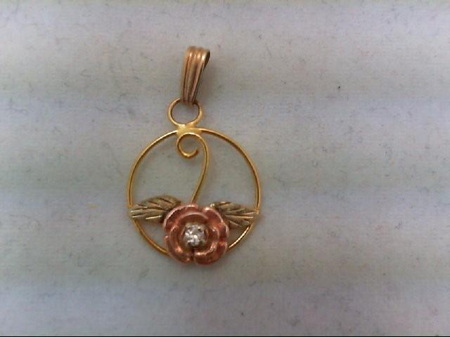 Gold-Diamond Solitaire Pendant .01 CT. 10K Tri-color Gold 0.8g
