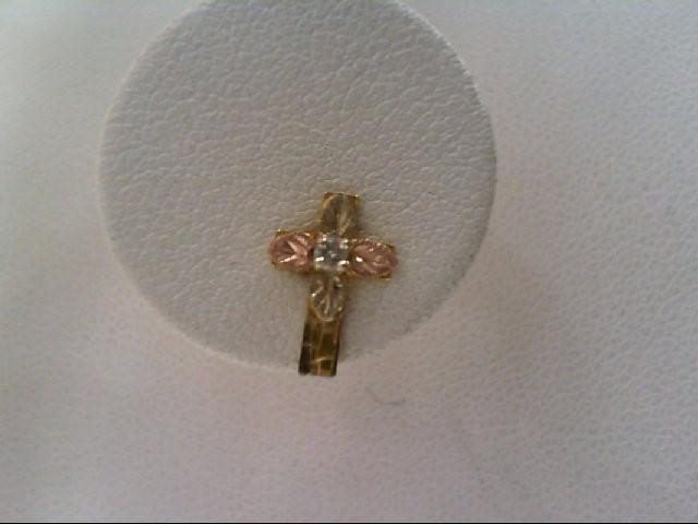 Gold-Diamond Earrings 2 Diamonds .02 Carat T.W. 10K Tri-color Gold 0.7g
