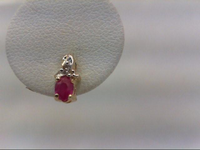 Ruby Gold-Stone Earrings 14K Yellow Gold 0.8g