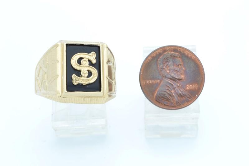 DOLLAR SIGN $ BLACK ONYX RING SOLID 14K GOLD MEN BLING MONEY SIZE 12