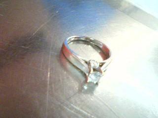 Lady's Diamond Cluster Ring 3 Diamonds .60 Carat T.W. 14K White Gold 3.4g