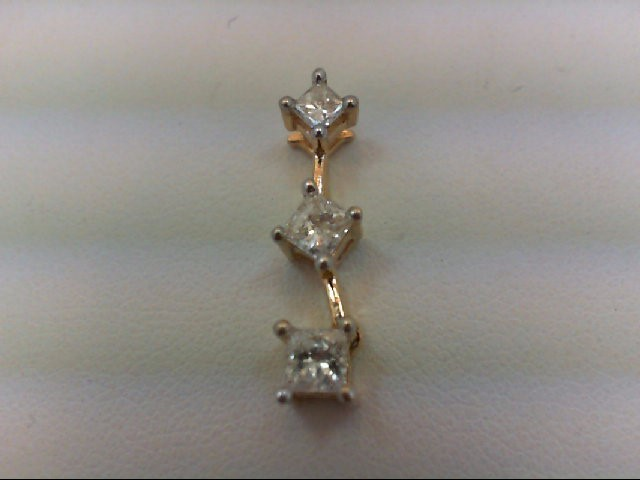 Gold-Multi-Diamond Pendant 3 Diamonds 0.47 Carat T.W. 14K Yellow Gold 1g