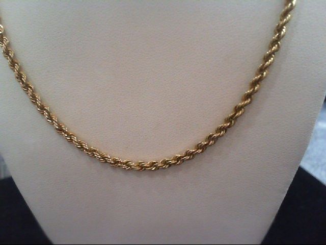 """19"""" Gold Rope Chain 14K Yellow Gold 13.1g"""