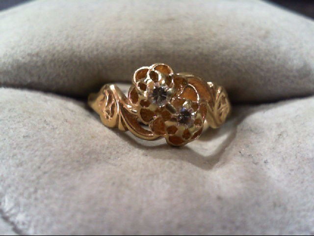 Lady's Diamond Fashion Ring 2 Diamonds .08 Carat T.W. 14K Yellow Gold 2.1g