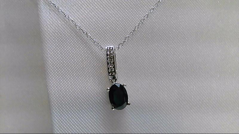 "18"" Synthetic Sapphire Diamond & Stone Necklace 6 Diamonds .030 Carat T.W."