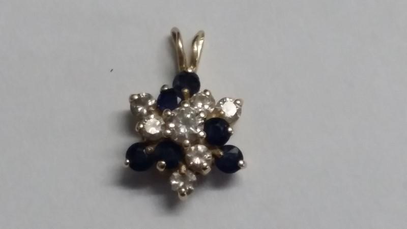 Synthetic Sapphire Gold-Diamond & Stone Pendant 7 Diamonds .38 Carat T.W.