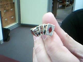 Red Stone Gent's Stone & Diamond Ring 24 Diamonds .24 Carat T.W.