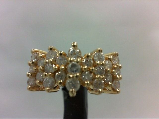 Lady's Diamond Cluster Ring 23 Diamonds .84 Carat T.W. 14K Yellow Gold 4.9g