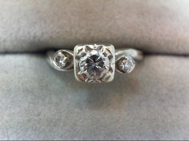 Lady's Diamond Engagement Ring 3 Diamonds .40 Carat T.W. 14K White Gold 2.5g