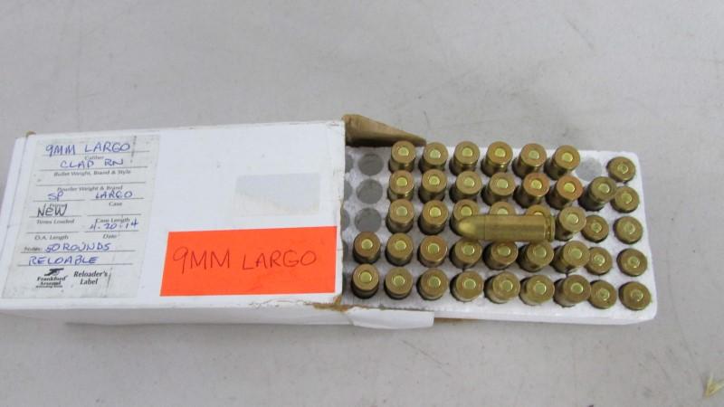 9MM X 23 LARGO, 34 rounds, 8 casings