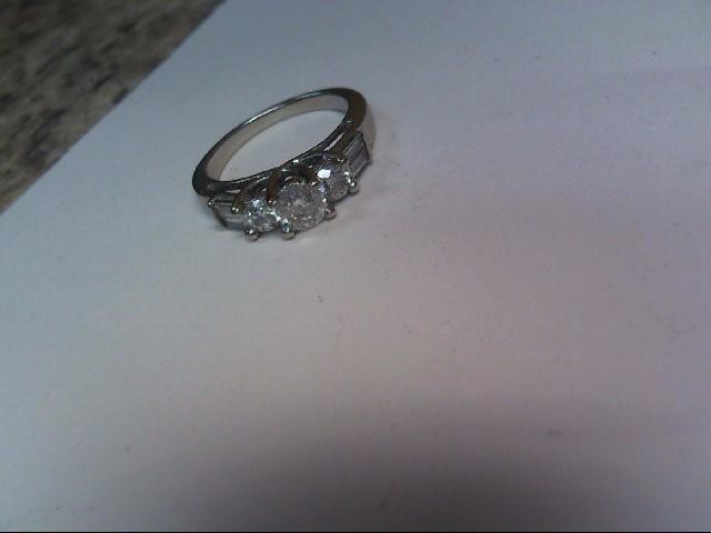 Lady's Diamond Engagement Ring 3 Diamonds .80 Carat T.W. 14K White Gold 2.7dwt