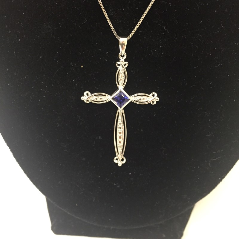 "18"" Purple Stone Stone Necklace 10K White Gold 2.3dwt"