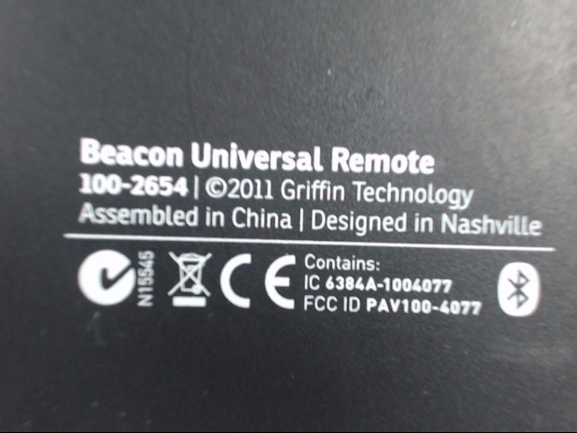 GRIFFIN TECHNOLOGY 100-2654 BEACON UNIVERSAL REMOTE