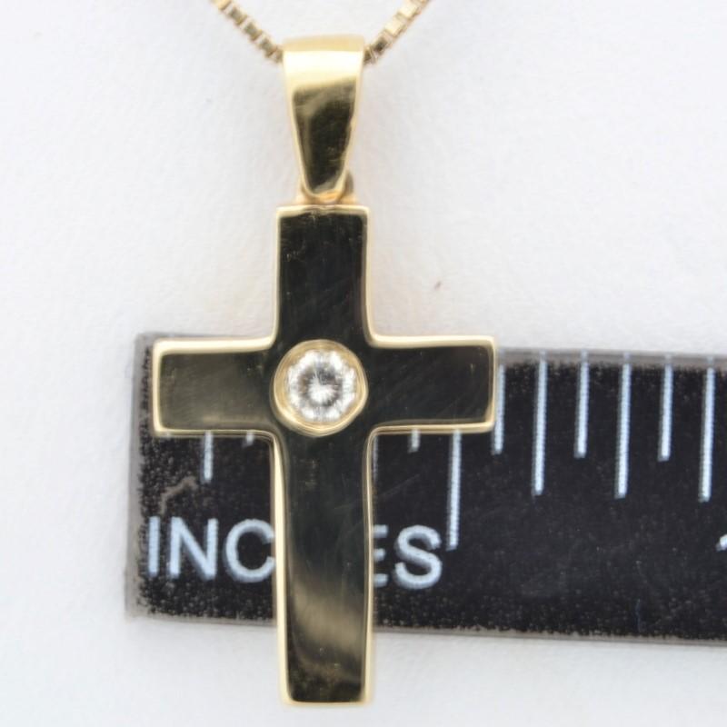 ESTATE DIAMOND CROSS PENDANT CHARM SOLID 14K GOLD CHRISTIAN JESUS