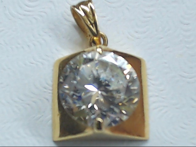 Synthetic Cubic Zirconia Gold-Stone Pendant 14K Yellow Gold 1.7g