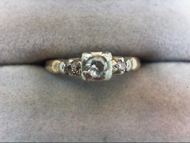 Lady's Diamond Engagement Ring 3 Diamonds .18 Carat T.W. 14K Yellow Gold 1.9g