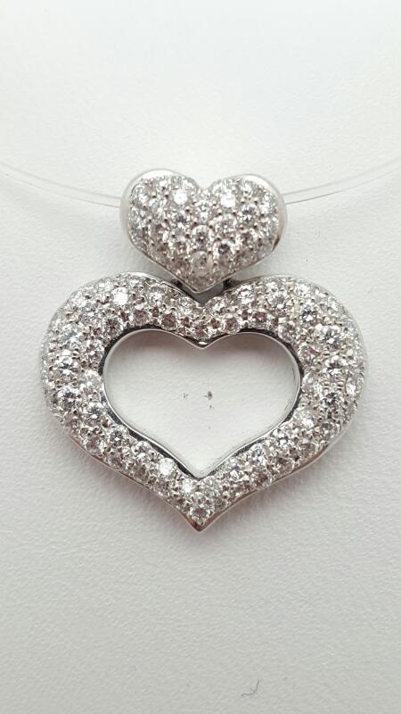 18kw Pave Heart Pendant 79 Round Diamonds .79 Carat T.W. 18kw  3.1g