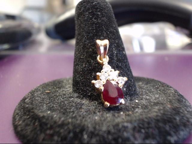 Ruby Gold-Diamond & Stone Pendant 5 Diamonds .10 Carat T.W. 18K Yellow Gold