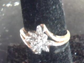 Lady's Diamond Cluster Ring 9 Diamonds .09 Carat T.W. 14K Yellow Gold 1.1dwt