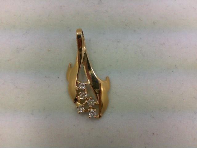 Gold-Multi-Diamond Pendant 5 Diamonds 0.1 Carat T.W. 14K Yellow Gold 1g