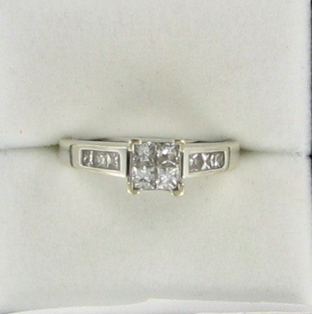 Lady's Diamond Engagement Ring 10 Diamonds .90 Carat T.W. 14K White Gold 3.1dwt