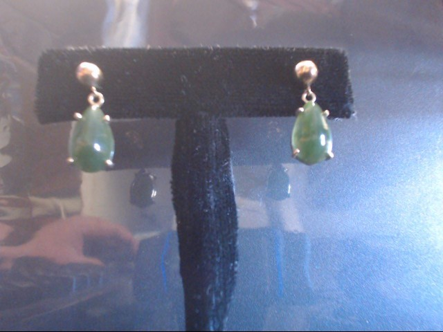 Synthetic Green Stone Gold-Stone Earrings 14K Yellow Gold 3.2g