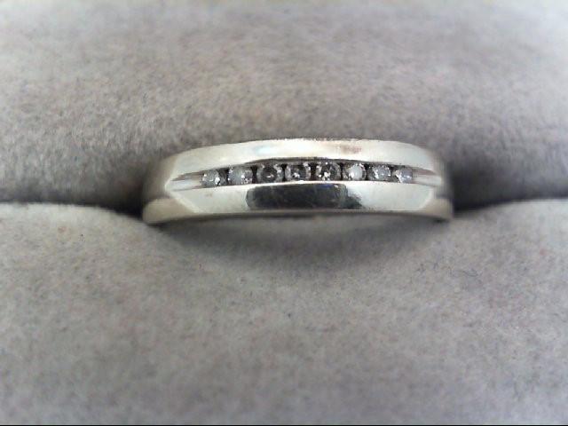 Lady's Diamond Wedding Band 8 Diamonds .08 Carat T.W. 10K White Gold 2.2g