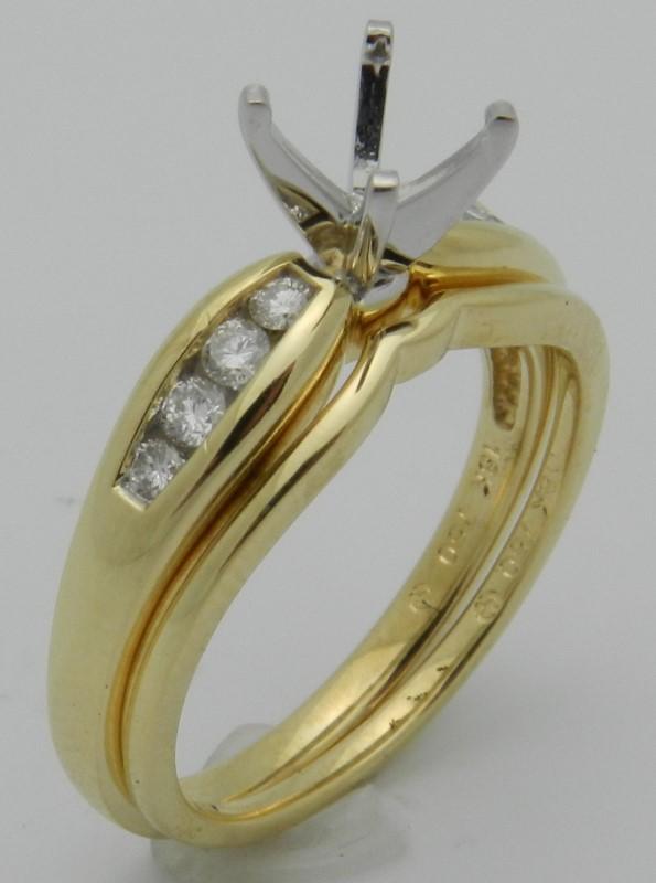 Lady's Diamond Wedding Set 8 Diamonds .22 Carat T.W. 18K Yellow Gold 6.1g