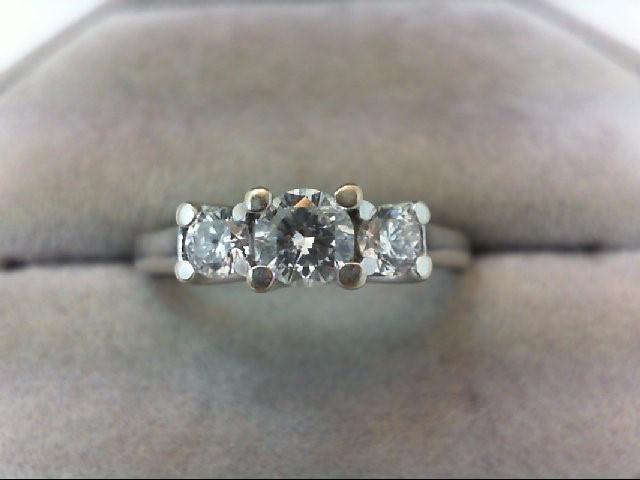 Lady's Gold-Diamond Anniversary Ring 3 Diamonds .70 Carat T.W. 14K White Gold