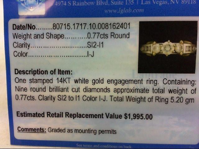 Lady's Diamond Engagement Ring 9 Diamonds .77 Carat T.W. 14K 2 Tone Gold 5.2g