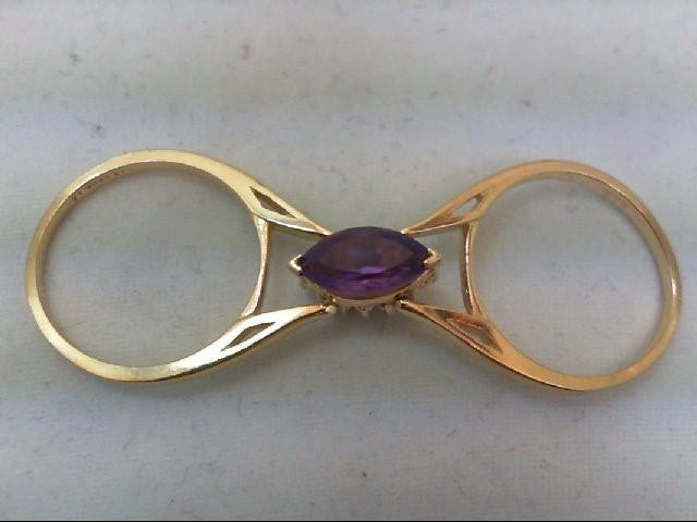 Amethyst Lady's Stone & Diamond Ring 12 Diamonds .24 Carat T.W. 14K Yellow Gold