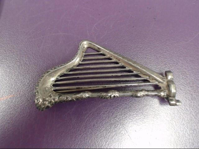 ANTIQUE SILVER HARP BROOCH 925 Silver 5.7g