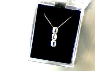 Sapphire Diamond & Stone Necklace 42 Diamonds .84 Carat T.W. 14K White Gold