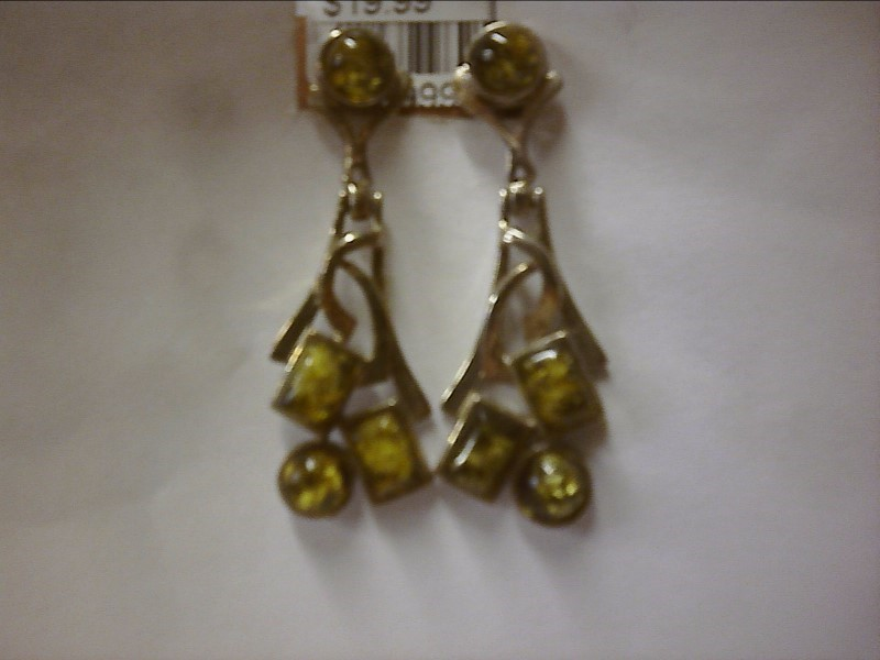 DANGLE EARRINGS WITH TWO ROUND AND TWO RECTANGE GREEN/AMBER COLORED STONES