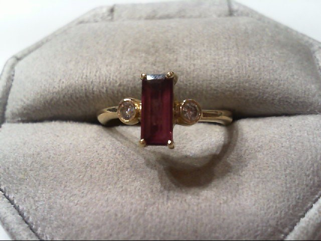 Purple Tourmaline Lady's Stone & Diamond Ring 2 Diamonds .14 Carat T.W.