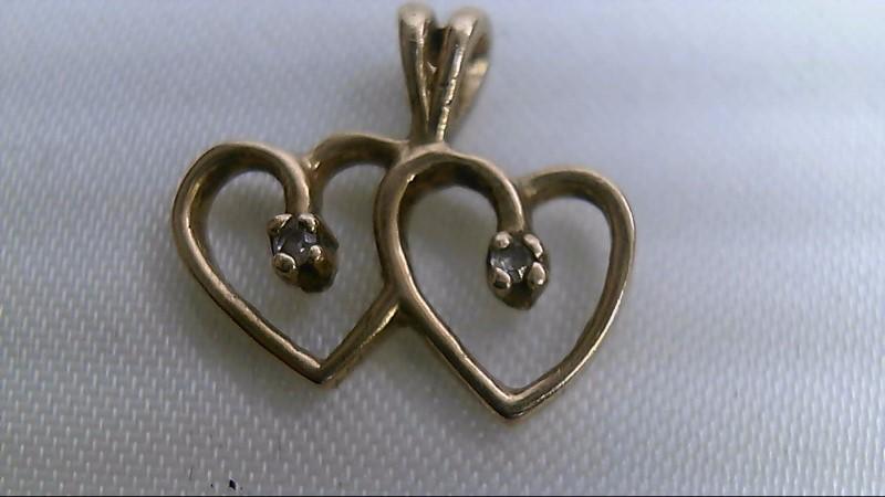Gold-Multi-Diamond Pendant 2 Diamonds .010 Carat T.W. 10K Yellow Gold 0.9g
