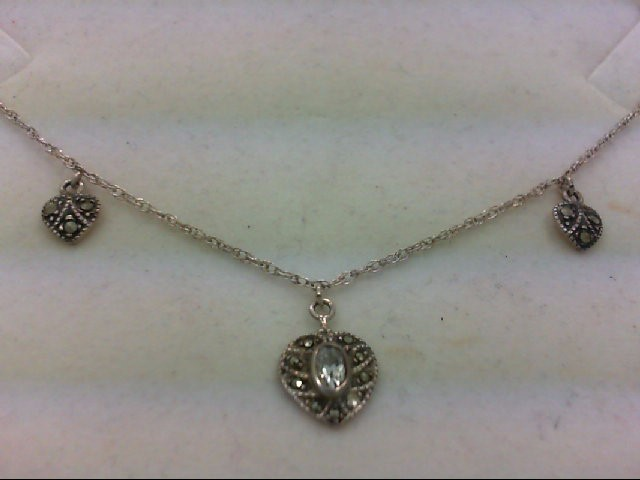 Cubic Zirconia Stone Necklace 925 Silver 3.1g