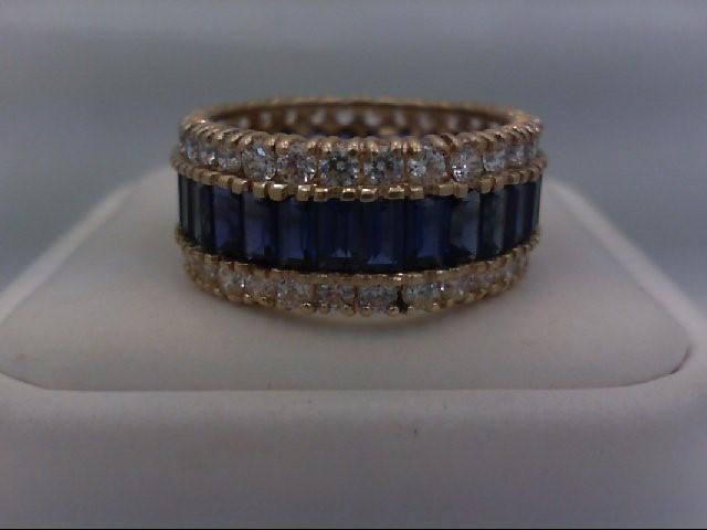 Blue Stone Lady's Stone Ring 14K Yellow Gold 7.5g Size:7.5