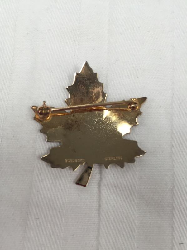 BOND BOYD GOLD TONE MAPLE LEAF STERLING SILVER