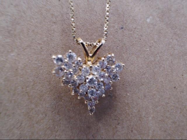 Gold-Multi-Diamond Pendant 28 Diamonds .94 Carat T.W. 14K Yellow Gold 4.7g