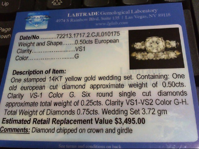 Lady's Diamond Wedding Set 7 Diamonds .80 Carat T.W. 14K Yellow Gold 3.72g