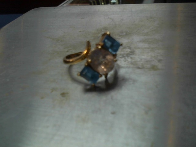 Blue Stone Lady's Stone Ring 14K Yellow Gold 4.5g Size:7