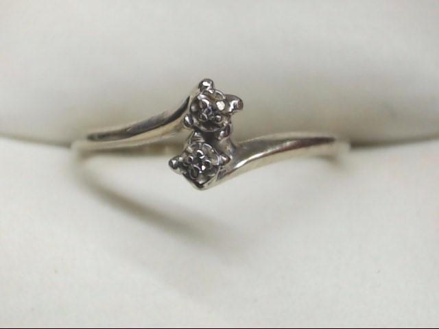 Lady's Diamond Cluster Ring 2 Diamonds .02 Carat T.W. 14K Yellow Gold 1.2g