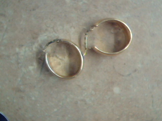 ESTATE SOLID 18K YELLOW GOLD HOOP EARRINGS SMOOTH SNAP WIDE ITALY