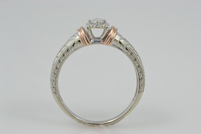 ESTATE DIAMOND ENGAGEMENT RING SOLID 10K GOLD 2 TONE WHITE ROSE 7